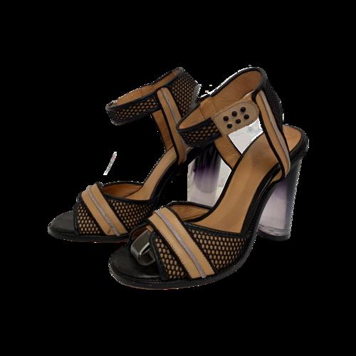 L.A.M.B. Black and Tan Carter Lucite Heels
