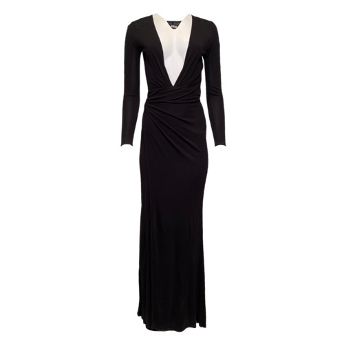 Reformation Deep V Black Long Sleeve Dress