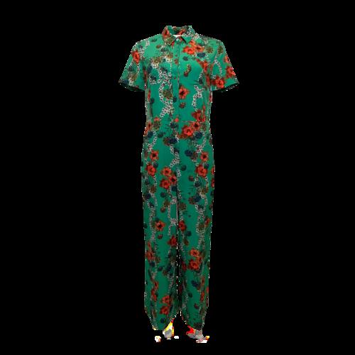 Sandro Paris Green Floral  Print Jumpsuit