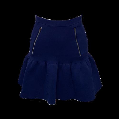 Sandro Paris Blue Fluted Skirt w/ Zipper Pockets