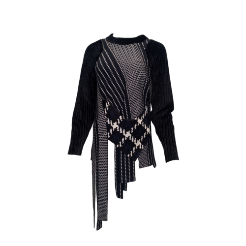 3.1 Phillip Lim Black and White Multi-Fabric Fringe Sweater
