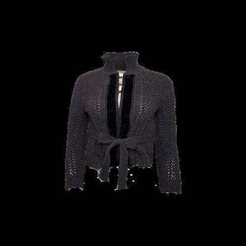 Chloé Grey Cardigan w/ Velvet Front Detail