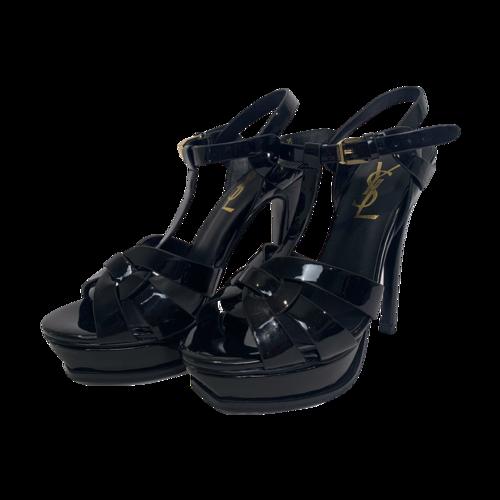 "Yves Saint Laurent Black Patent Leather ""Tribute"" Sandals"