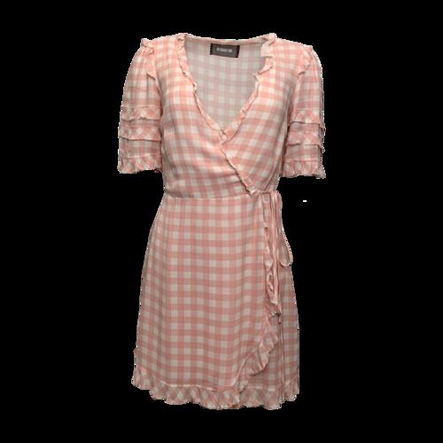 "Reformation ""Leanna"" Pink Gingham Wrap Ruffle Mini Dress"