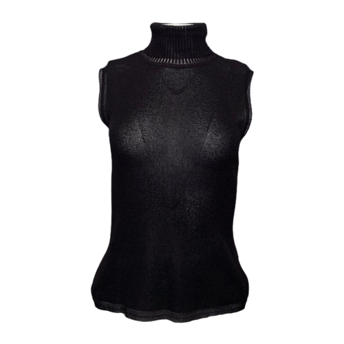 Versace Black Sleeveless Turtleneck Top
