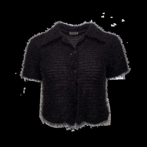 Versace Black Sparkly Top w/ Collar
