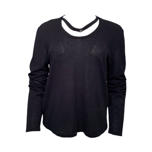 Maison Margiela Black Long Sleeve Cotton Top