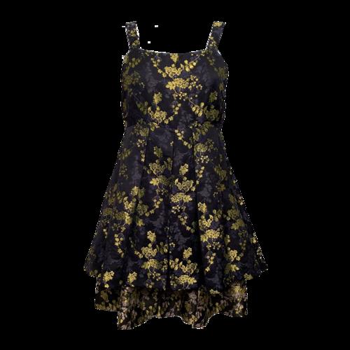 Vera Wang Black Dress w/ Yellow Floral Motif