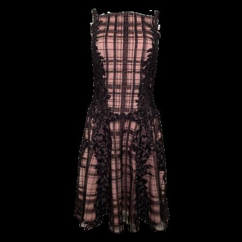 Tadashi Shoji Black and Pink Plaid w/ Lace Dress