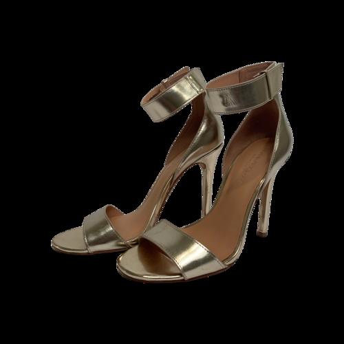 Halston Metallic Gold Ankle Strap Heels