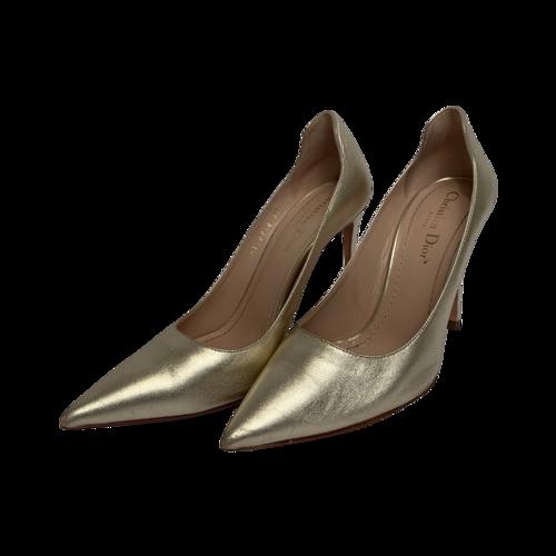 Dior Gold Metallic Pointy Heels