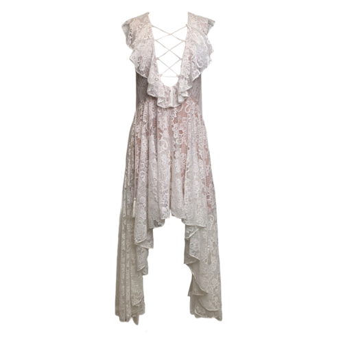 The Jetset Diaries for Revolve White Lace Hi-Low Dress w/ Corset Detail