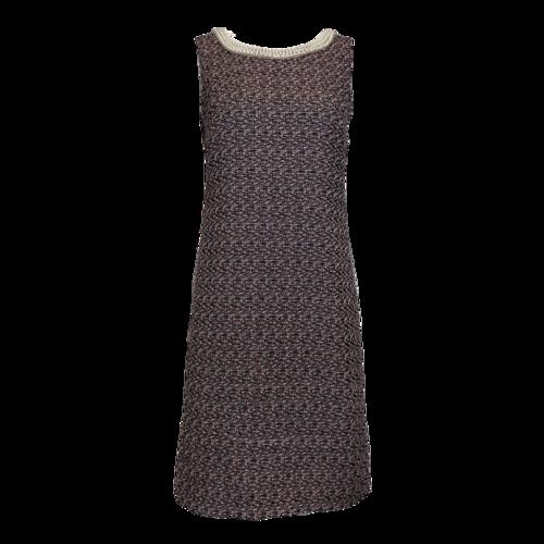 Karl Lagerfeld Sleeveless Tweed Dress w/ Pearl Neckline
