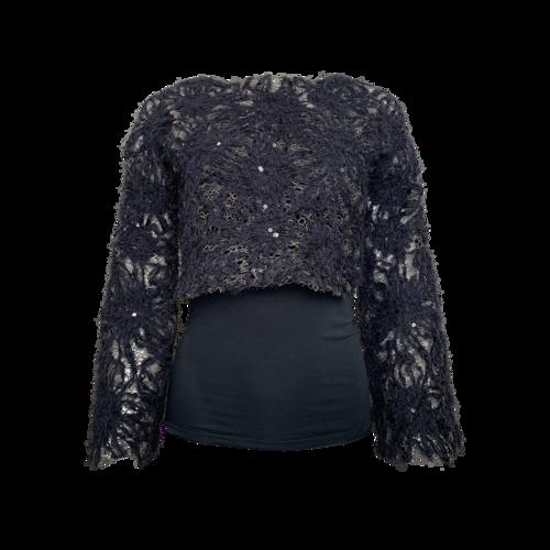 Brunello Cucinelli Blue Cropped Sweater w/ Strapless Top