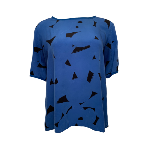 Vince Blue Silk Top w/ Abstract Print