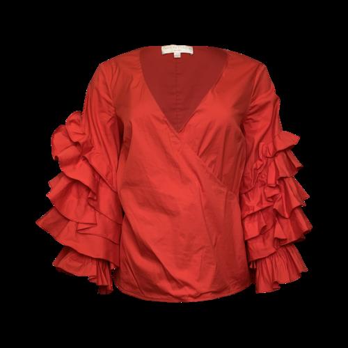 Caroline Constas Red Flamenco Sleeve Top