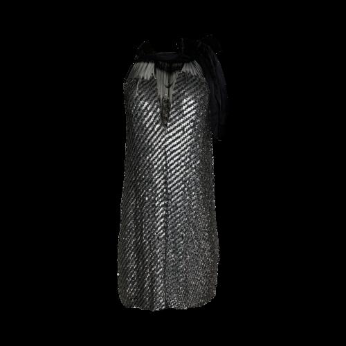 Badgley Mischka Silver Sequined Dress w/ Bow