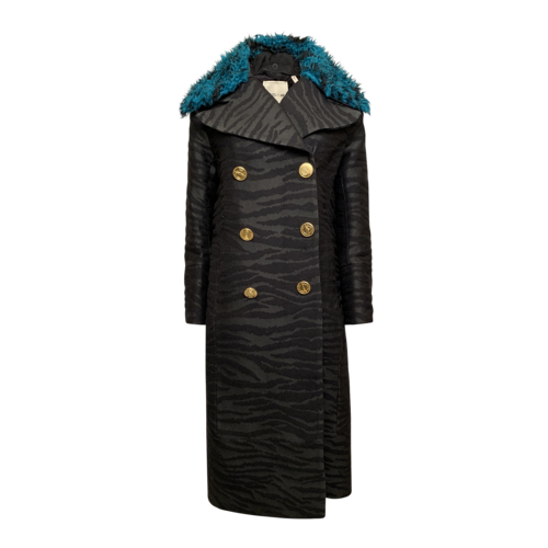 Kenzo x H&M Zebra Print Coat w/ Faux Fur Collar