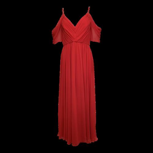 Badgley Mischka Red Cold Shoulder Gown