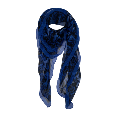 Boutique Blue Leopard and Skull Scarf