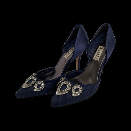 Badgley Mischka Navy Jeweled Heels