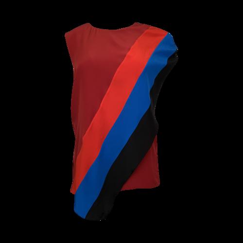 Givenchy Multi-Color Asymmetrical Silk Top