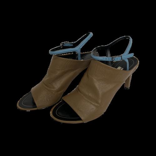 Balenciaga Tan and Blue Open Toe Mule Sandals