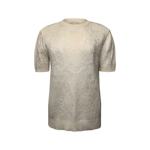 Ermanno Scervino Cream Short Sleeve Lace Sweater