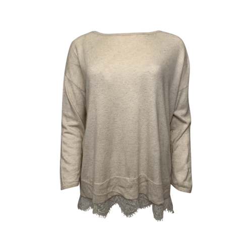 Joie Beige Sweater w/ Lace Hem