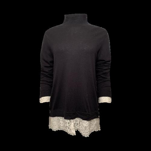 Joie Black Turtleneck w/ Lace Details