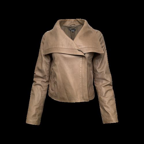 Vince Beige Asymmetrical Zip Leather Jacket