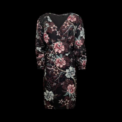Badgley Mischka Black Floral Balloon Sleeve Dress