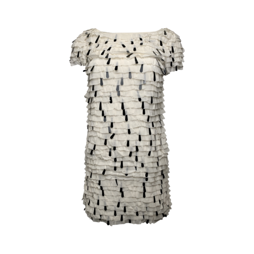 French Connection White Tiered Dress w/ Black Paillettes