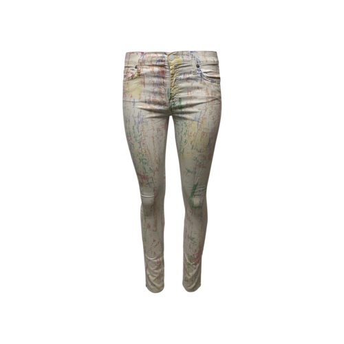 7 For All Mankind White Paint Splatter Jeans
