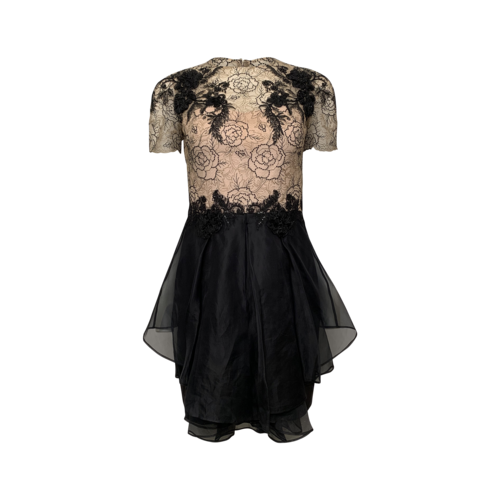 Marchesa Notte Beige and Black Floral Lace and Silk Organza Dress