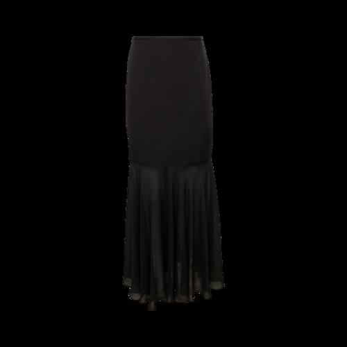 Escada Black Dual Fabric Maxi Skirt