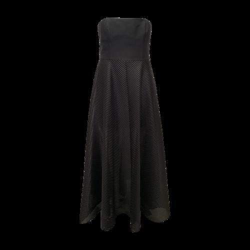 Halston Black Strapless Gown w/ Textured Skirt