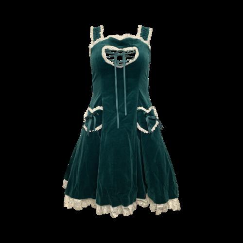 Angelic Pretty Green Velvet Costume Dress