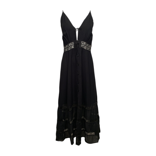 "Reformation Black ""Shelley"" Button Lace Midi Dress"