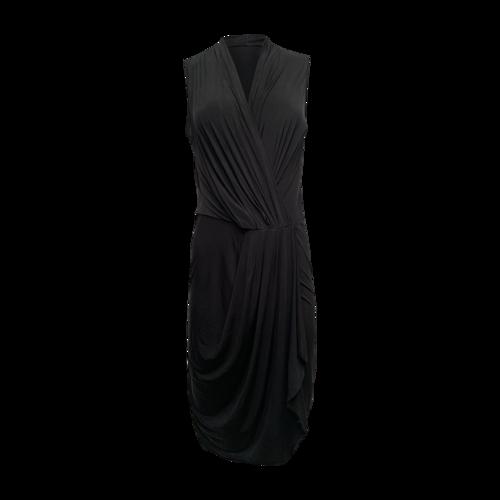 Barneys Black V-Neck Draped Dress