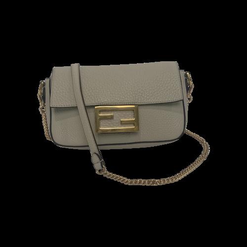Fendi Baguette Cream Leather FF Signature Bag