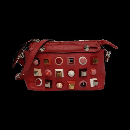 Fendi Red Monster Studded Leather Crossbody Bag