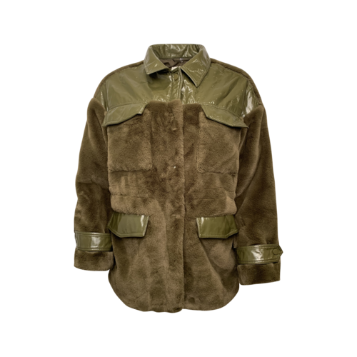 APPARIS Olive Green Faux Fur Coat w/ Vegan Leather Panels