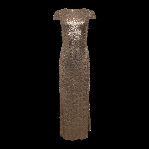 Badgley Mischka Gold Cowl Back Sequin Gown
