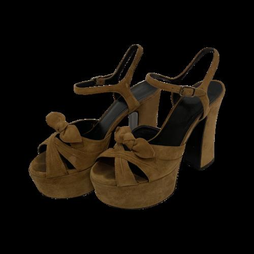 """Yves Saint Laurent Tan """"Candy"""" Suede Platform Sandals"""