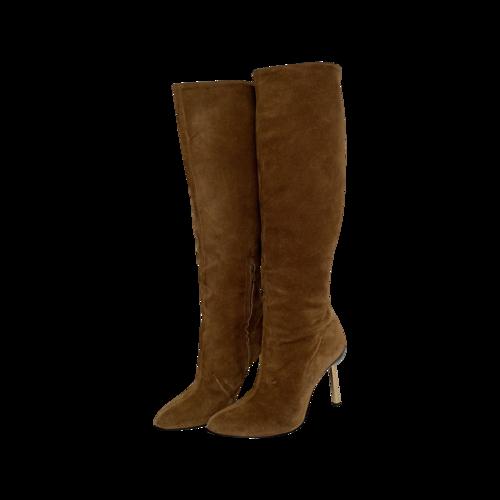 Versace Brown Suede Gold Heel Boots