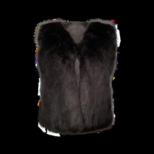 Saks Fifth Avenue Black Faux Fur Vest