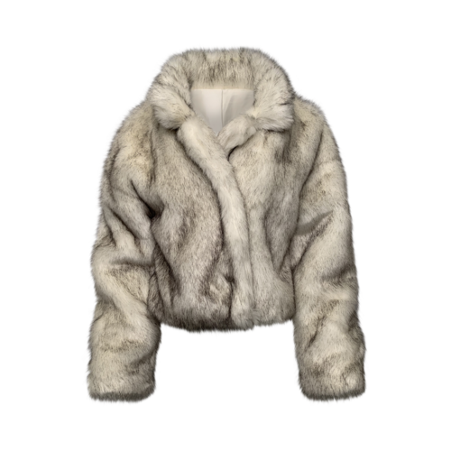 Saks Fifth Avenue White and Grey Faux Fur Coat
