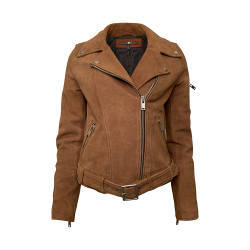 7 For All Mankind Tan Suede Moto Jacket