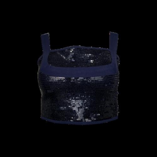 Herve Leger Blue Sequined Crop Top